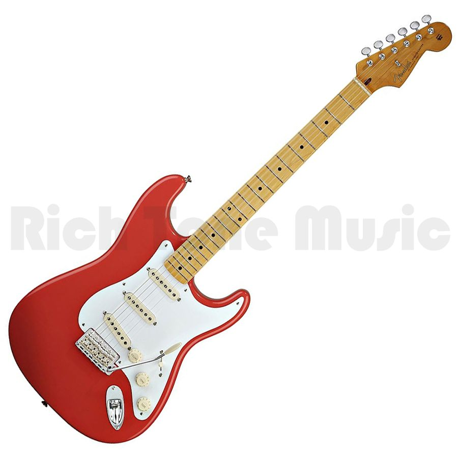 fender classic series 50s stratocaster fiesta red maple neck rich tone music. Black Bedroom Furniture Sets. Home Design Ideas