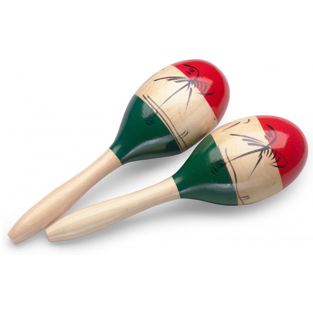 Red//Green Stagg 11862 Oval Long 26 cm Long Handles Wooden Maracas
