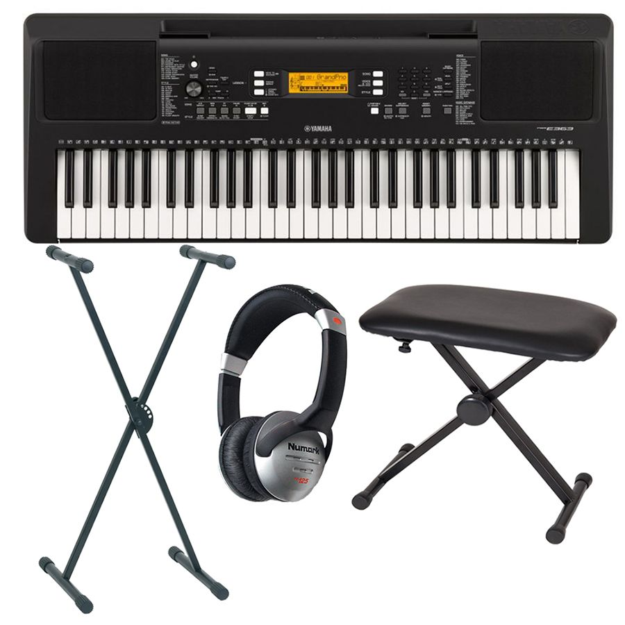 yamaha psr e363 portable keyboard package rich tone music. Black Bedroom Furniture Sets. Home Design Ideas