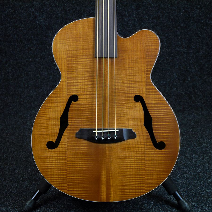 aria feb fretless electro acoustic bass guitar 2nd hand rich tone music. Black Bedroom Furniture Sets. Home Design Ideas