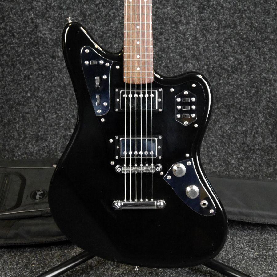 fender jaguar hh made in japan black w gig bag 2nd hand rich tone music. Black Bedroom Furniture Sets. Home Design Ideas