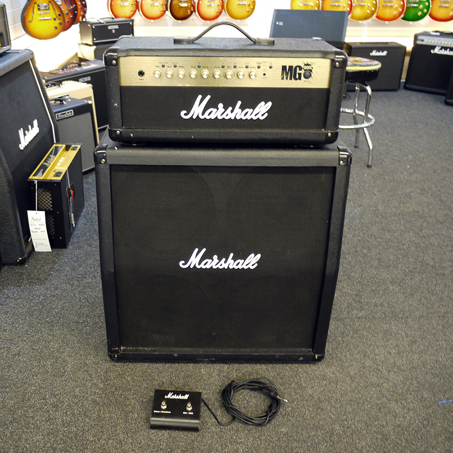 marshall mg100hdfx amp head w 4x12 cabinet footswitch 2nd hand rich tone music. Black Bedroom Furniture Sets. Home Design Ideas