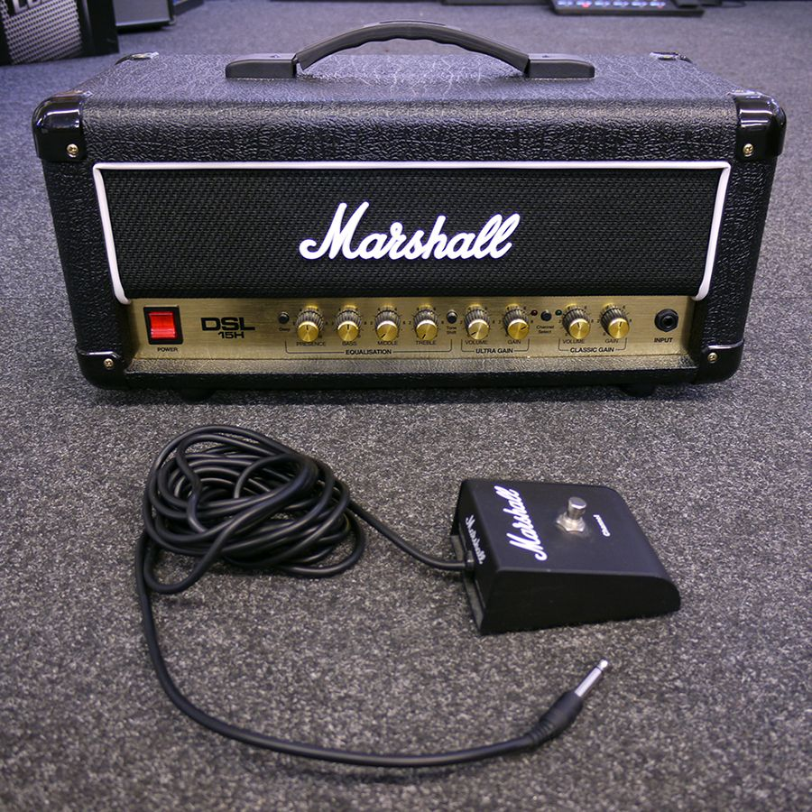 marshall dsl15h amp head with footswitch 2nd hand rich tone music. Black Bedroom Furniture Sets. Home Design Ideas