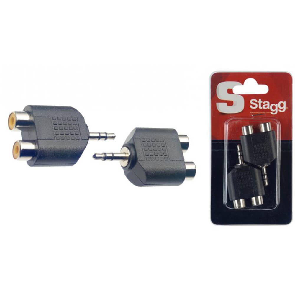 Stagg AC-2CFJMSH 2 X Double Female RCA Male Stereo Mini Phone-Plug Adaptor