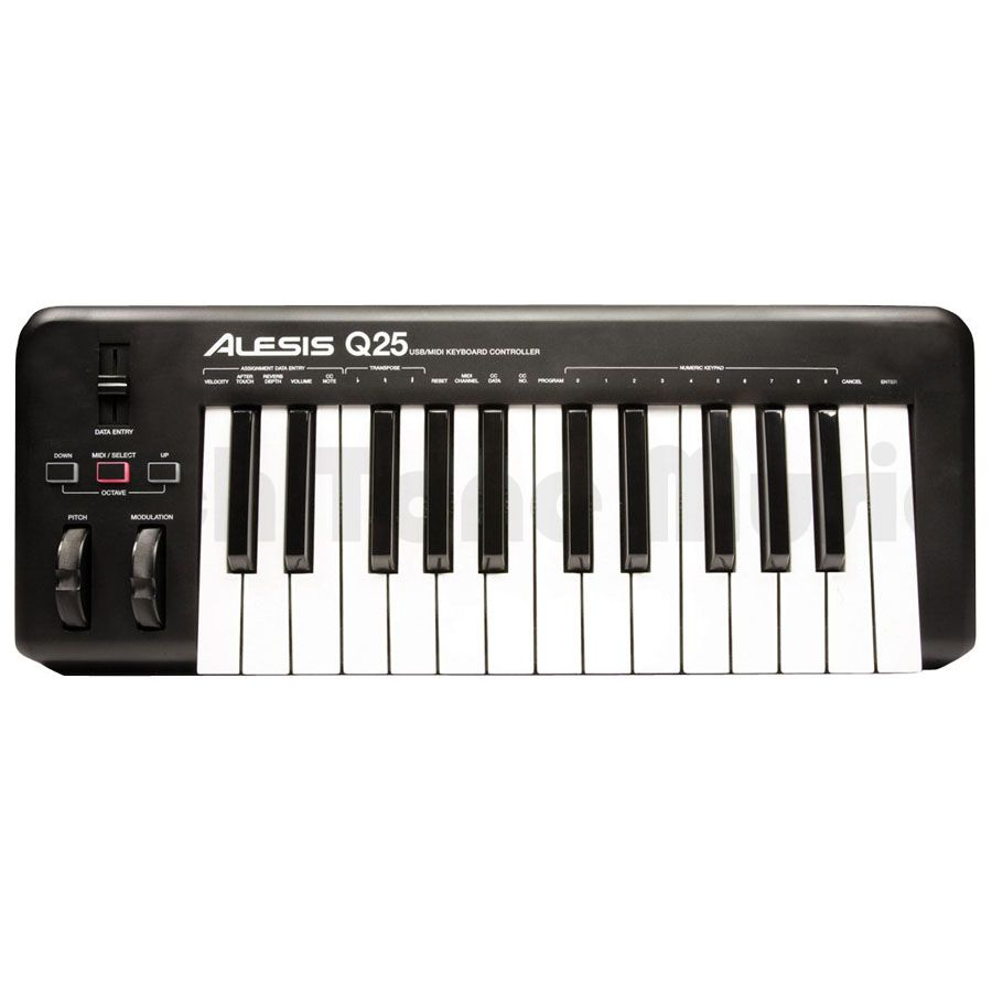 alesis q25 25 key usb midi keyboard controller rich tone music. Black Bedroom Furniture Sets. Home Design Ideas