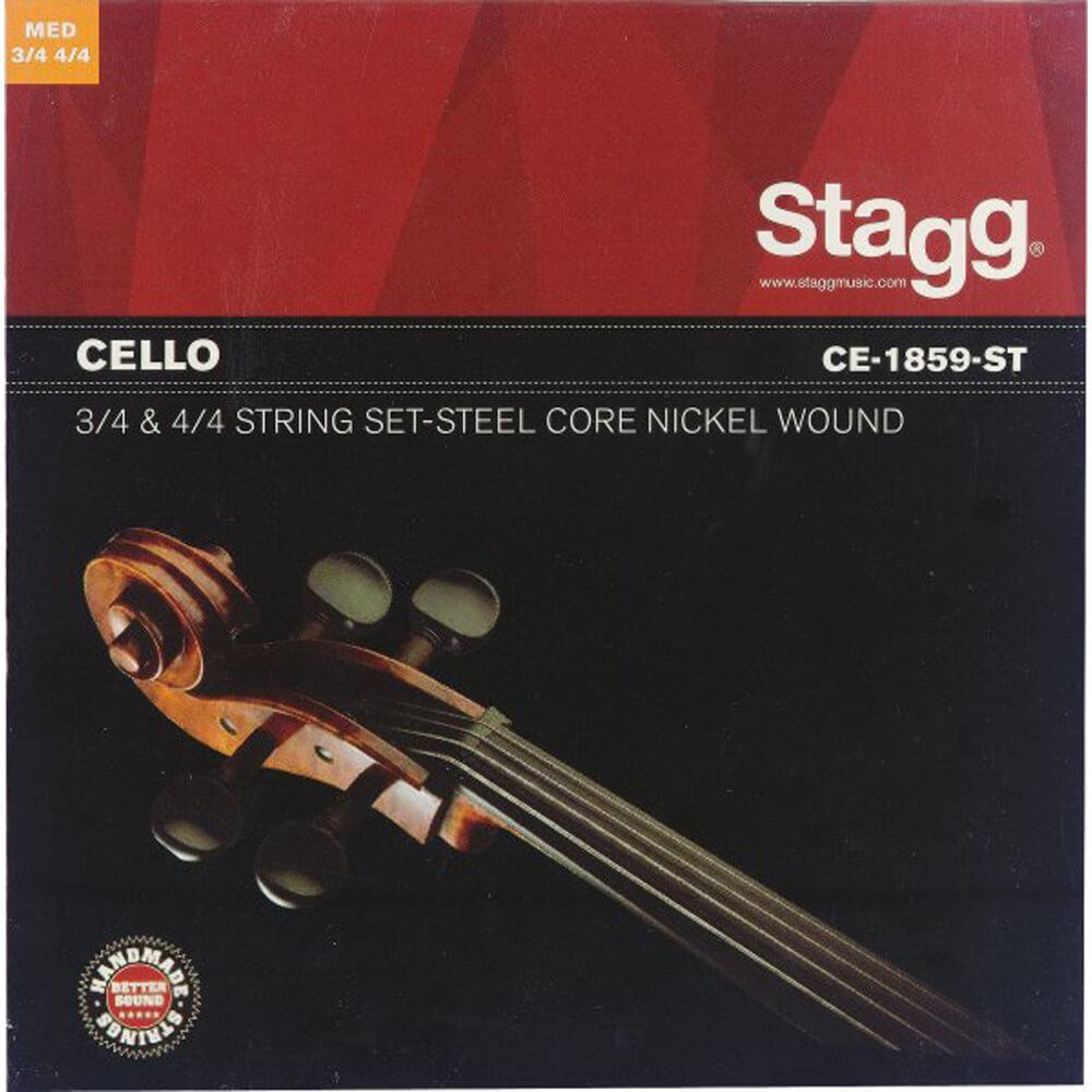 Stagg CE-1859-ST 4/4 & 3/4 Cello String Set Nickel Round-Wound Medium