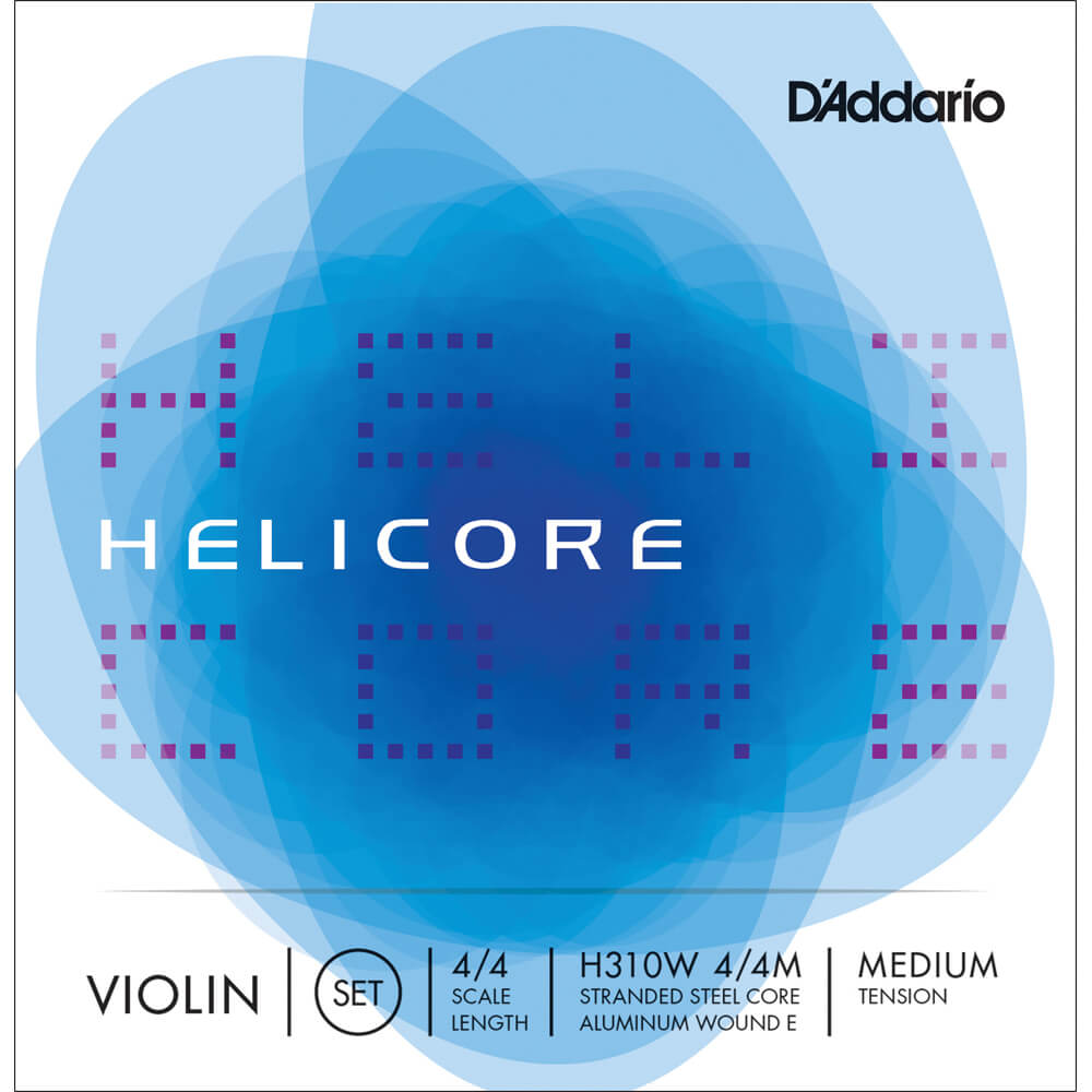 D'Addario Helicore Violin String Set with Wound E, 4/4 Scale, Medium Tension