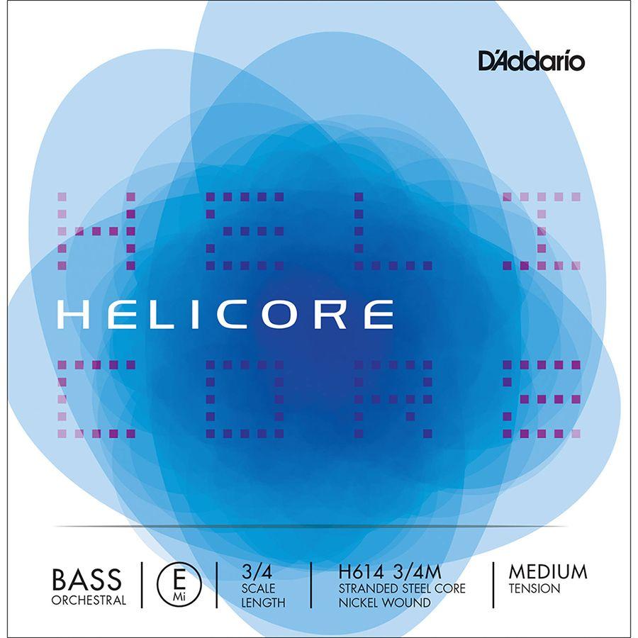D'Addario Helicore Pizzicato Bass Single E String, 3/4 Scale, Light Tension