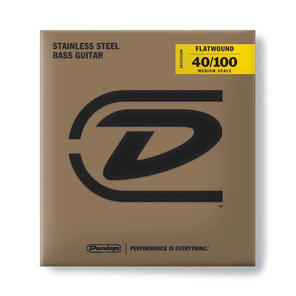 Jim Dunlop Stainless Steel Flatwound Medium Scale Bass Strings, 40-100