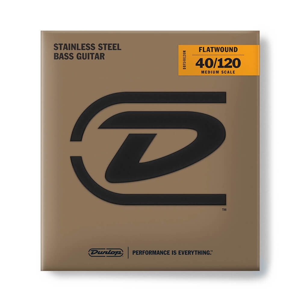 Jim Dunlop Stainless Steel Flatwound Medium Scale Bass Strings, 40-120, 5-String