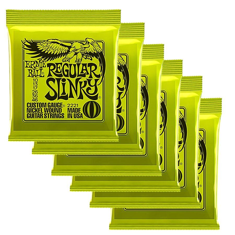 ernie ball 2221 regular slinky strings 6 x sets 10 46 rich tone music. Black Bedroom Furniture Sets. Home Design Ideas