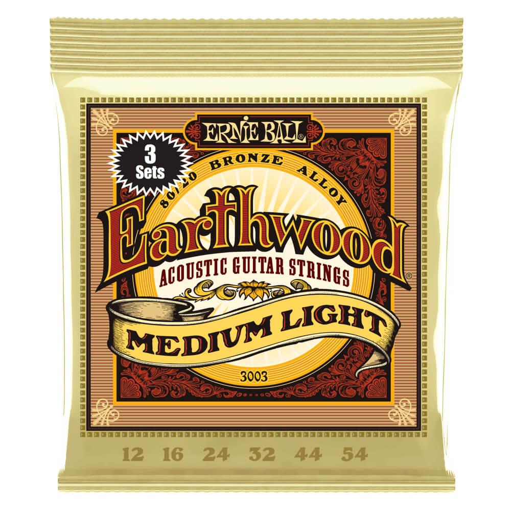 Ernie Ball 3003 3 Pack Earthwood Medium Light 80/20 Bronze 12-54