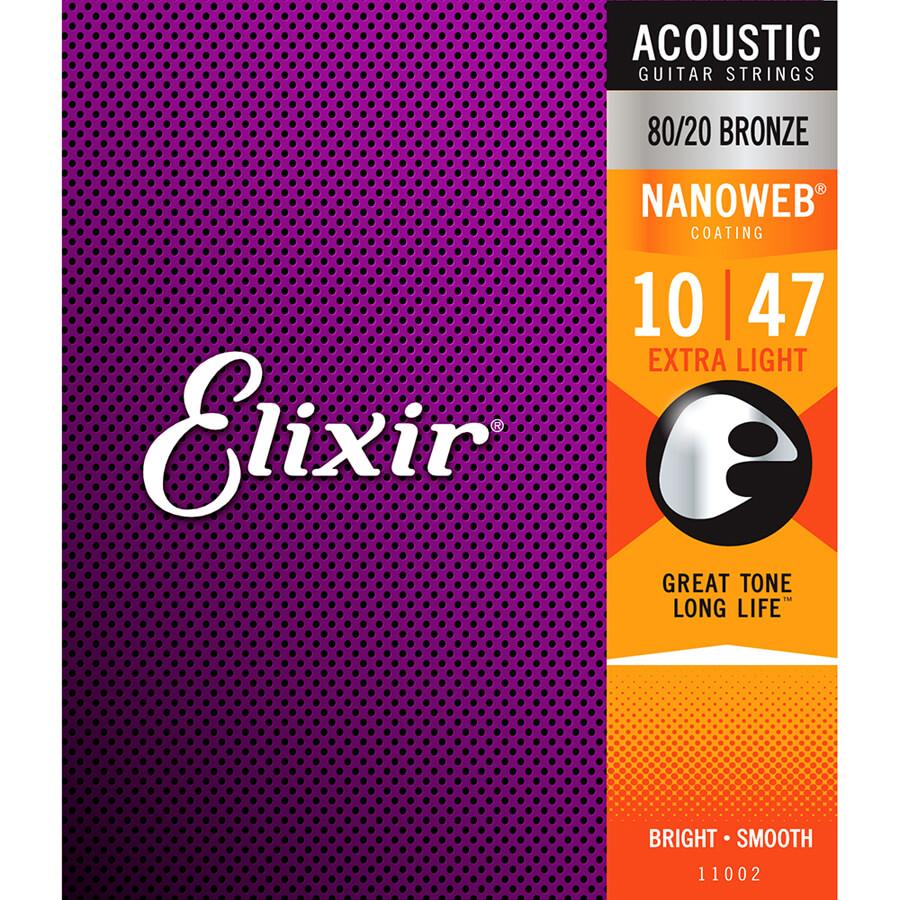 Elixir E11002 80/20 Bronze Acoustic Strings, Extra Light, 10-47