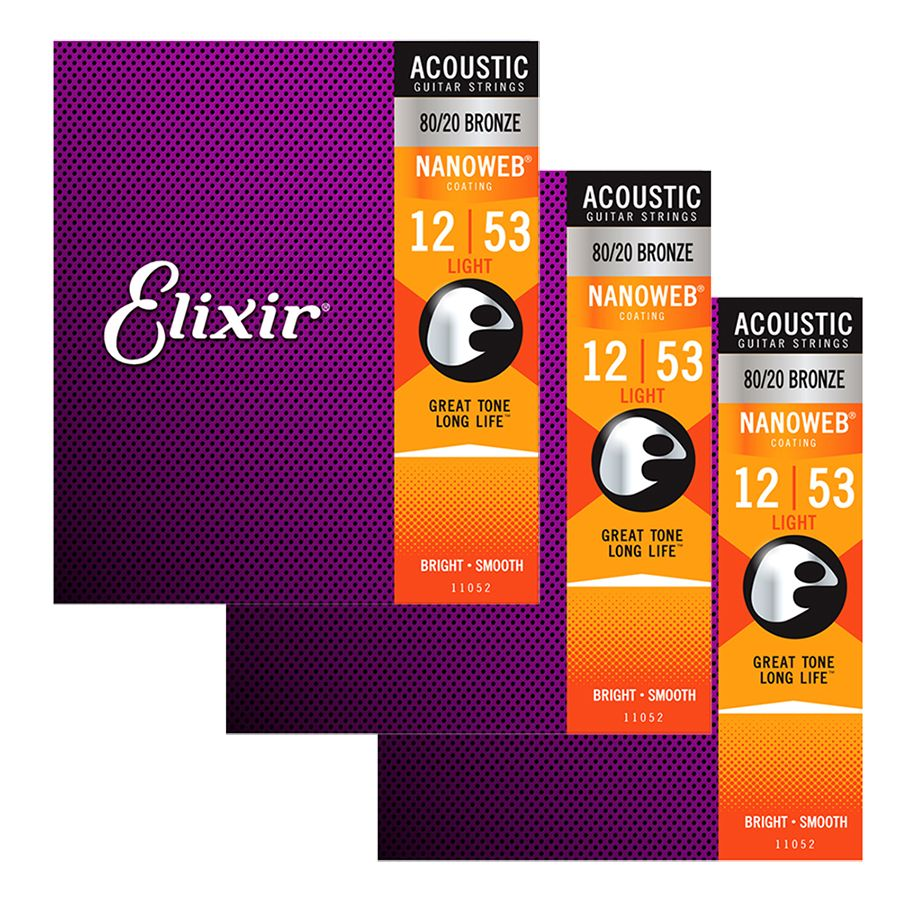 Elixir Nanoweb 80/20 Bronze Strings Light 12-53 - 3 SETS