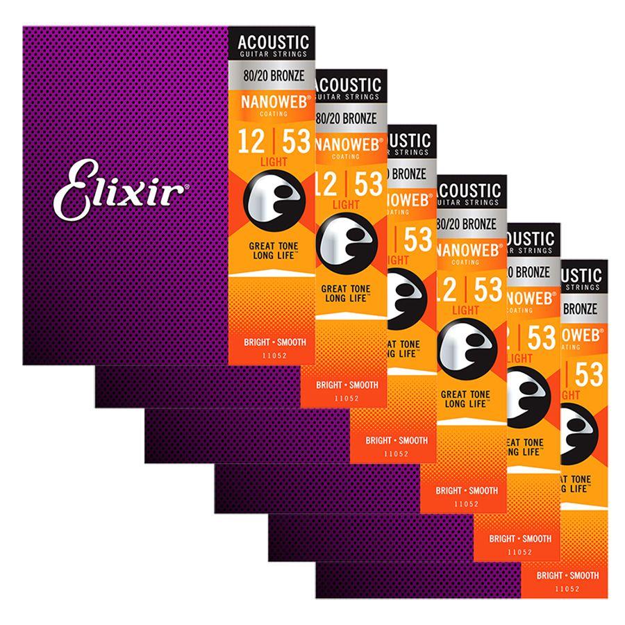 Elixir Nanoweb 80/20 Bronze Strings Light 12-53 - 6 SETS