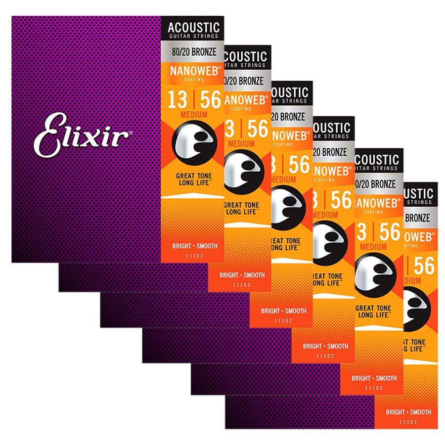 Elixir Nanoweb 80/20 Bronze Strings Medium 13-56 - 6 SETS