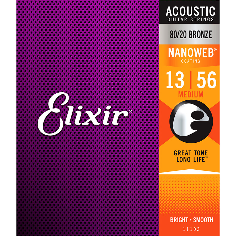 Elixir E11102 80/20 Bronze Acoustic Strings, Medium 13-56