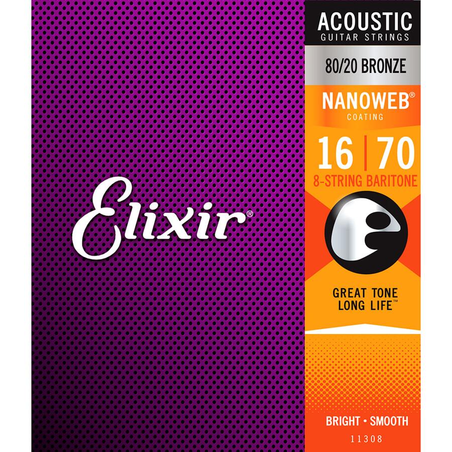 Elixir E11308 Bronze Nanoweb Baritone Acoustic Strings - 16-70
