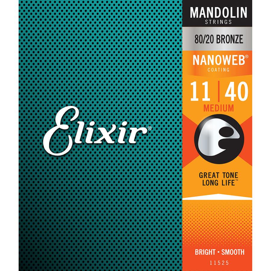 Elixir Mandolin Nanoweb Strings - Med Acoustic (.011 - .040)