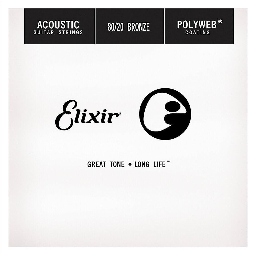 Elixir - Single Wound Acoustic Polyweb 80/20 Bronze (0.023)