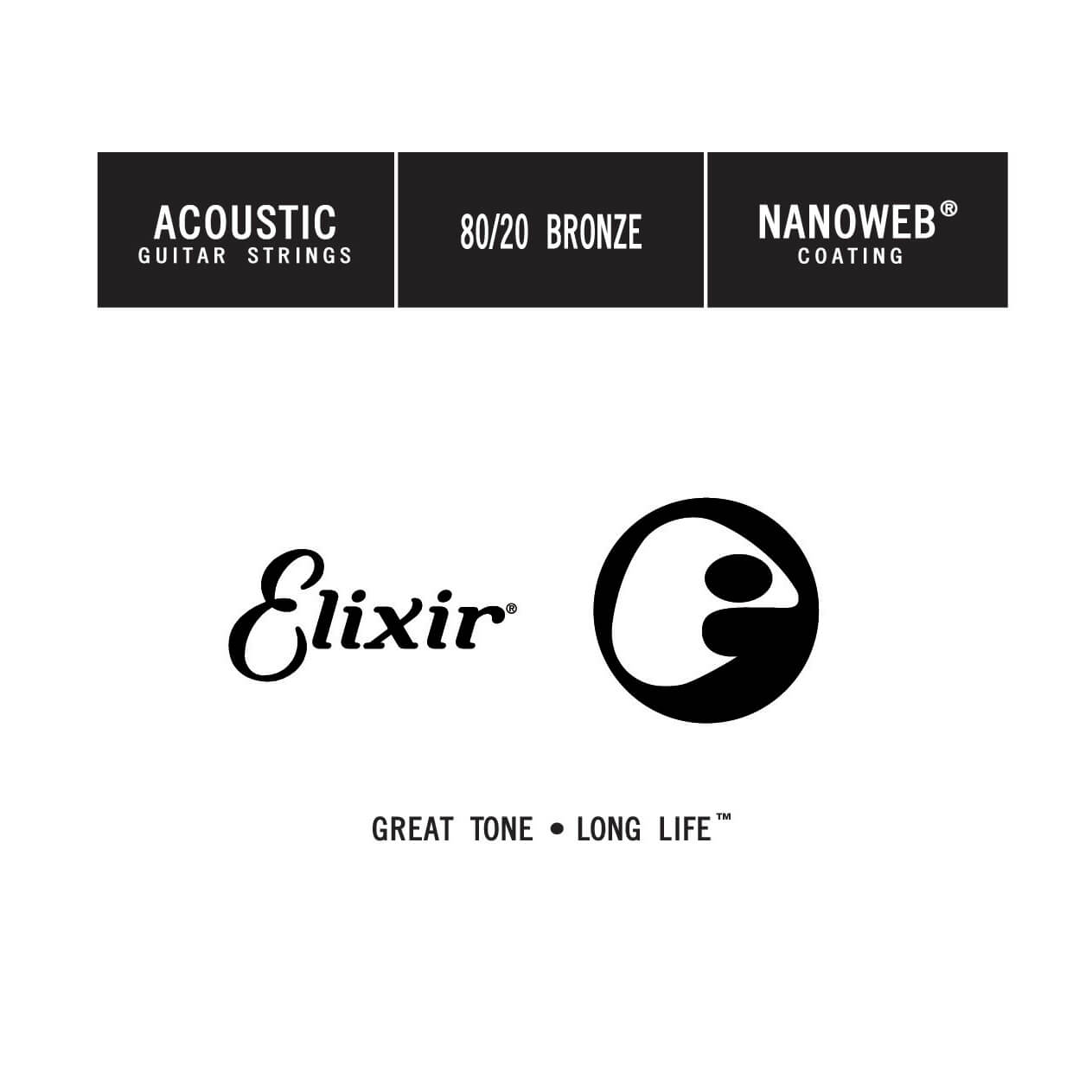 Elixir - Single Wound Acoustic Nanoweb 80/20 Bronze (0.023)