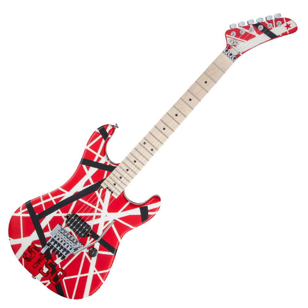 EVH Striped Series 5150 Electric Guitar - Red with Black and White Stripes