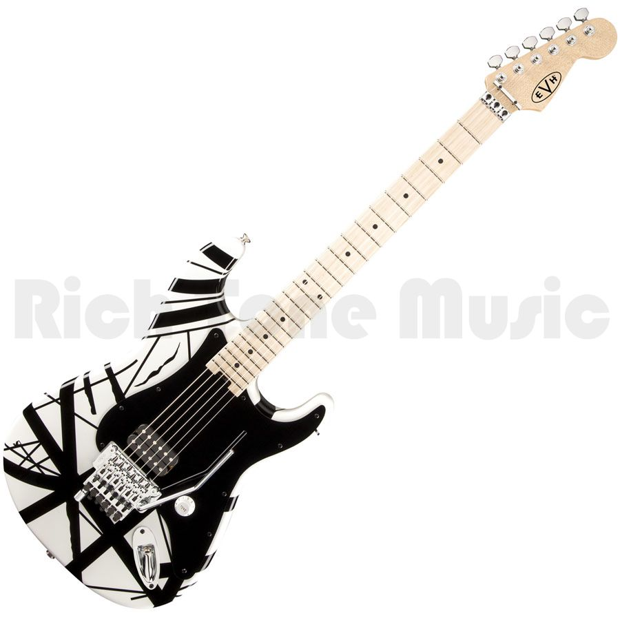 evh stripe electric guitar white with black stripes rich tone music. Black Bedroom Furniture Sets. Home Design Ideas
