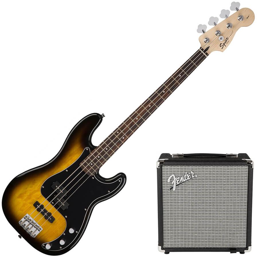 squier by fender pj bass guitar starter pack brown sunburst rich tone music. Black Bedroom Furniture Sets. Home Design Ideas