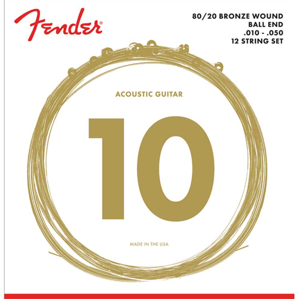 Fender 80/20 Bronze Acoustic Strings, Ball End, 70-12L, 10-50, 12-String Set