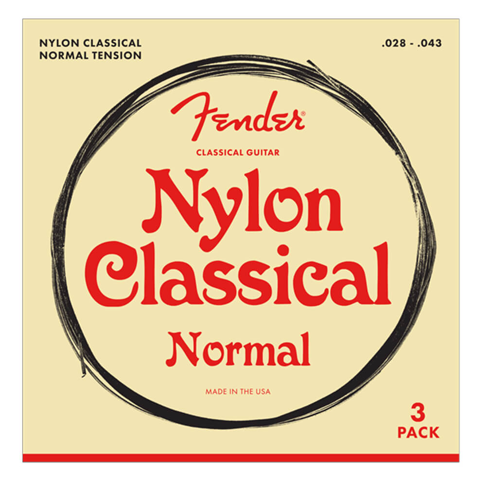 Fender Nylon Acoustic Strings, 100 Clear/Silver, Tie End, 28-43, 3-Pack