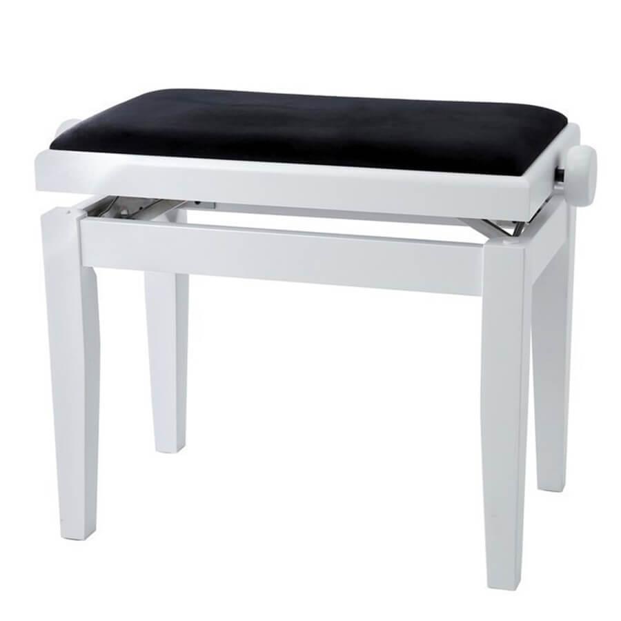 GEWA Adjustable Piano Bench Deluxe - White Matt, Black Cover