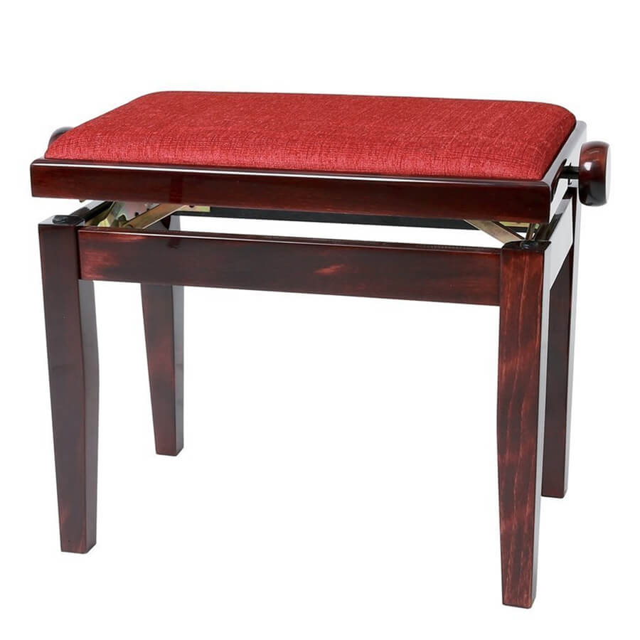 GEWA Adjustable Piano Bench Deluxe - Mahogany Highgloss, Bordeaux Cover