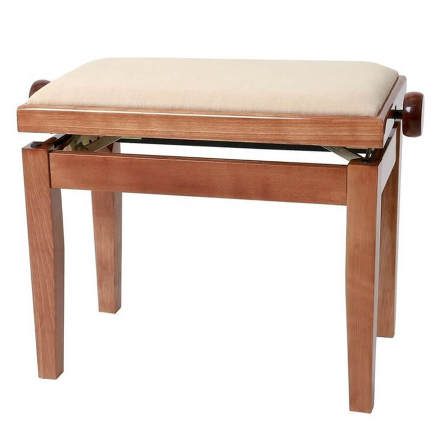 GEWA Adjustable Piano Bench Deluxe - Cherry Tree Highgloss, Beige Cover