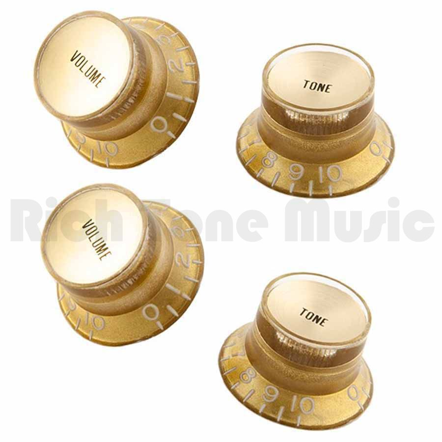 gibson top hat volume and tone knobs gold w gold insert rich tone music. Black Bedroom Furniture Sets. Home Design Ideas