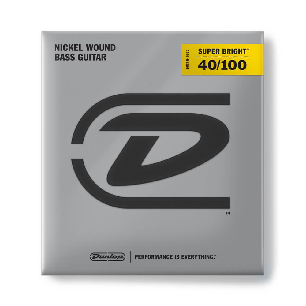 Jim Dunlop DBSBN40100 Super Bright Bass Strings, Nickel, Light - 40/100