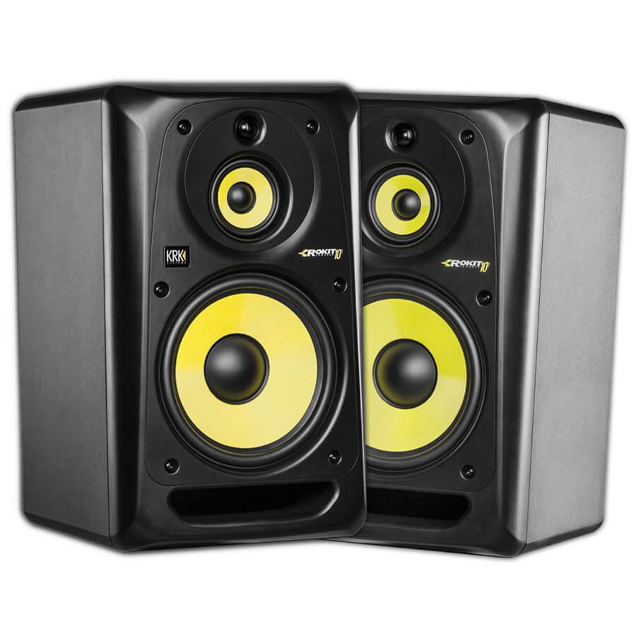 pair of krk 39 s rokit 10 3 g3 powered studio monitors black rich tone music. Black Bedroom Furniture Sets. Home Design Ideas