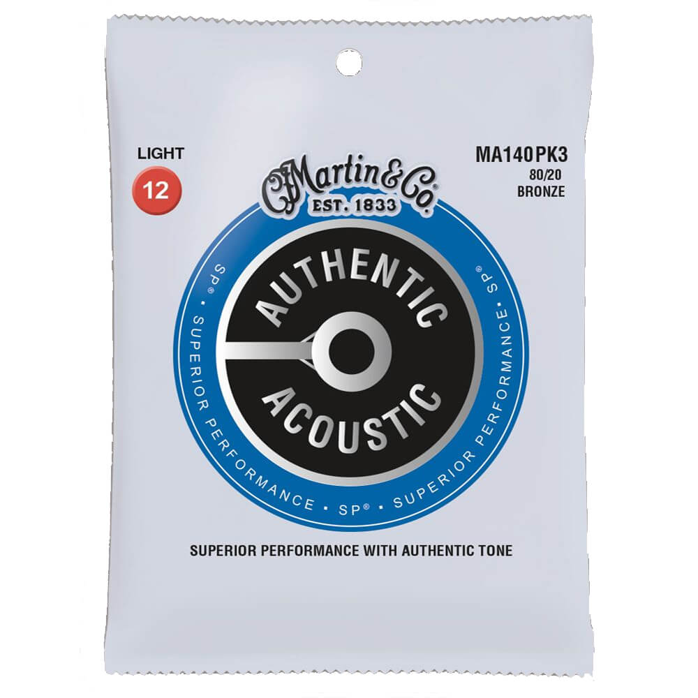 Martin MA140PK3 Acoustic SP, 80/20 Bronze, 3 Pack, Light, 12-54