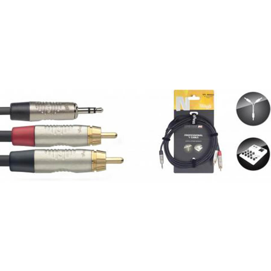 Stagg NYC1.5/MPS2CMR N-Series Y-Cable - Stereo Mini Phone Plug / 2 X Rca M