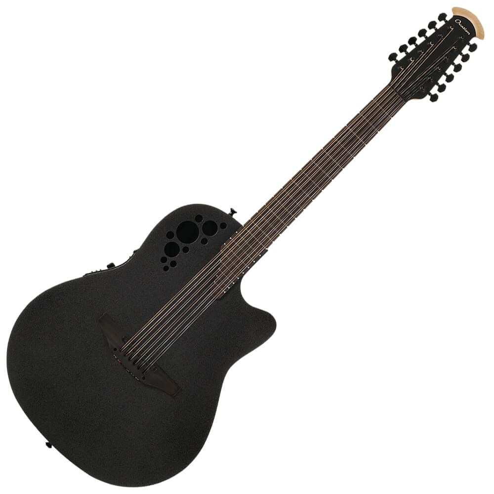 Ovation 2058TX-5 Black Textured - 12-String - Deep Contour Bowl Acoustic Guitar