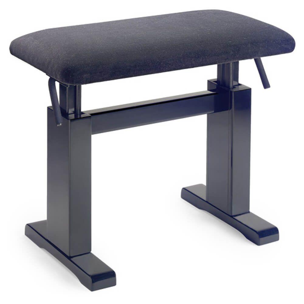 Stagg PBH 780 BKM VBK Black Matte Hydraulic Piano Bench - Velvet Top