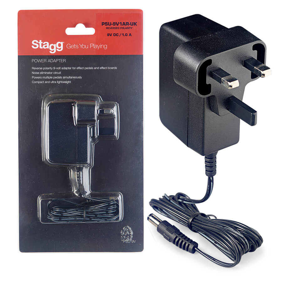 stagg reverse polarity 9 volt 1 a ac adapter for effect pedals rich tone music. Black Bedroom Furniture Sets. Home Design Ideas