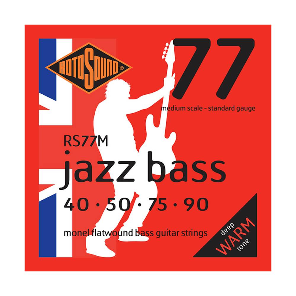 Rotosound RS77M Jazz Bass 77 4-Strings, Monel Flatwound, Medium Scale, 40-90