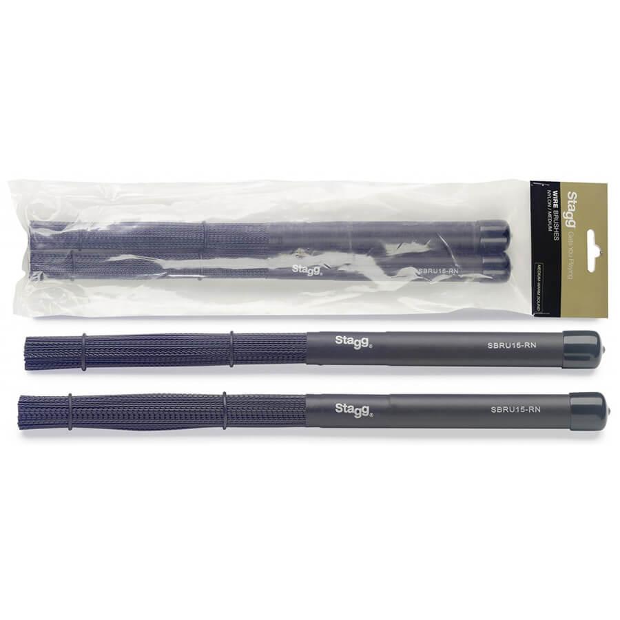Stagg SBRU15-RN Nylon Brushes-Rubber Handles