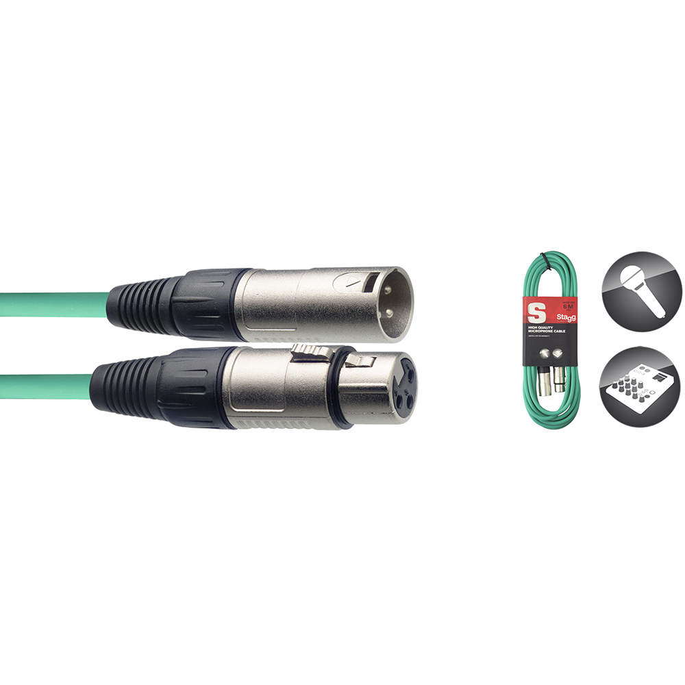 Stagg S Series Microphone Cable, XLRm/XLRf, Green - 6m/20ft