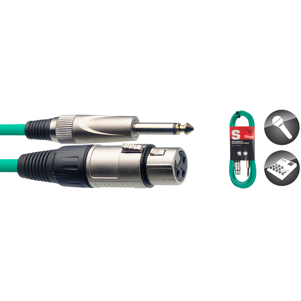 Stagg S Series Microphone Cable, XLRf/Jack, Green - 6m/20ft