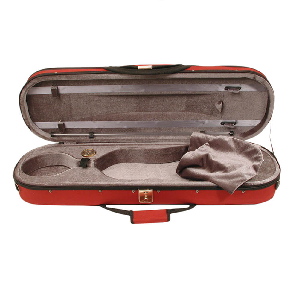 Stentor Violin Case Oblong Rounded Ends, Red, Moulded Interior 4/4