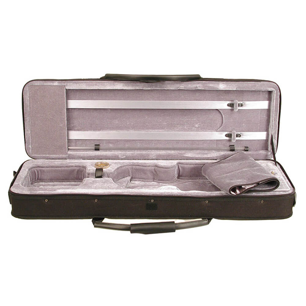 Stentor Violin Case Oblong Black Lightweight, Integral Cover, 2 Bow Clips 4/4