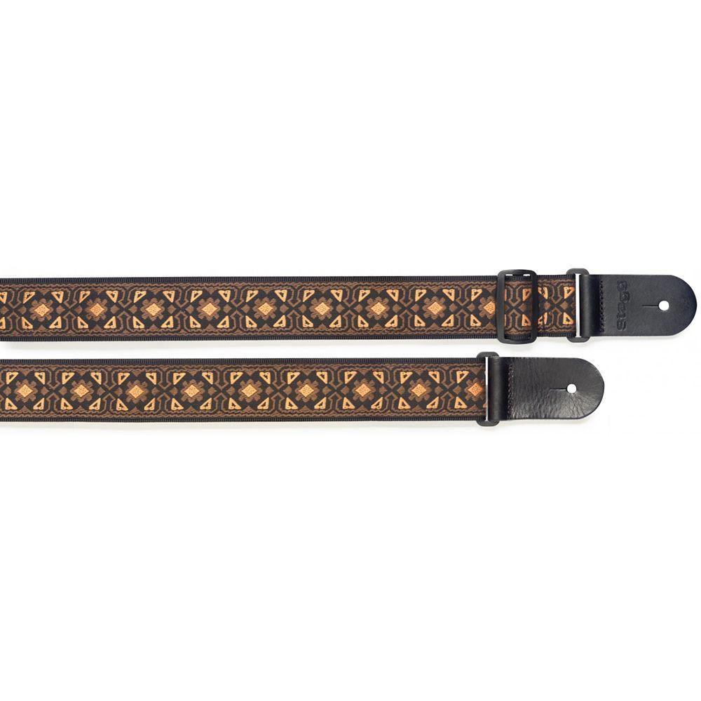 Stagg Woven Nylon Guitar Strap, Flower Pattern - Orange