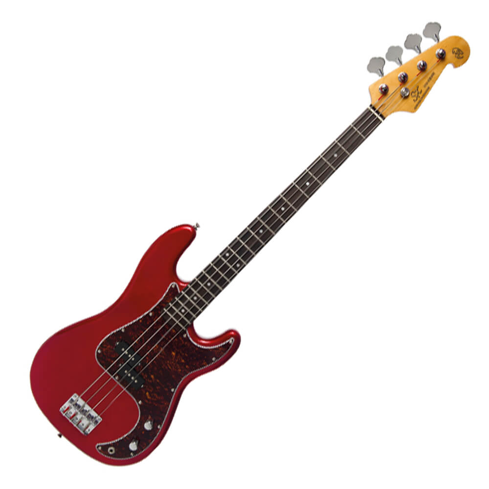 SX SPB62+ Electric Bass Guitar - Candy Apple Red