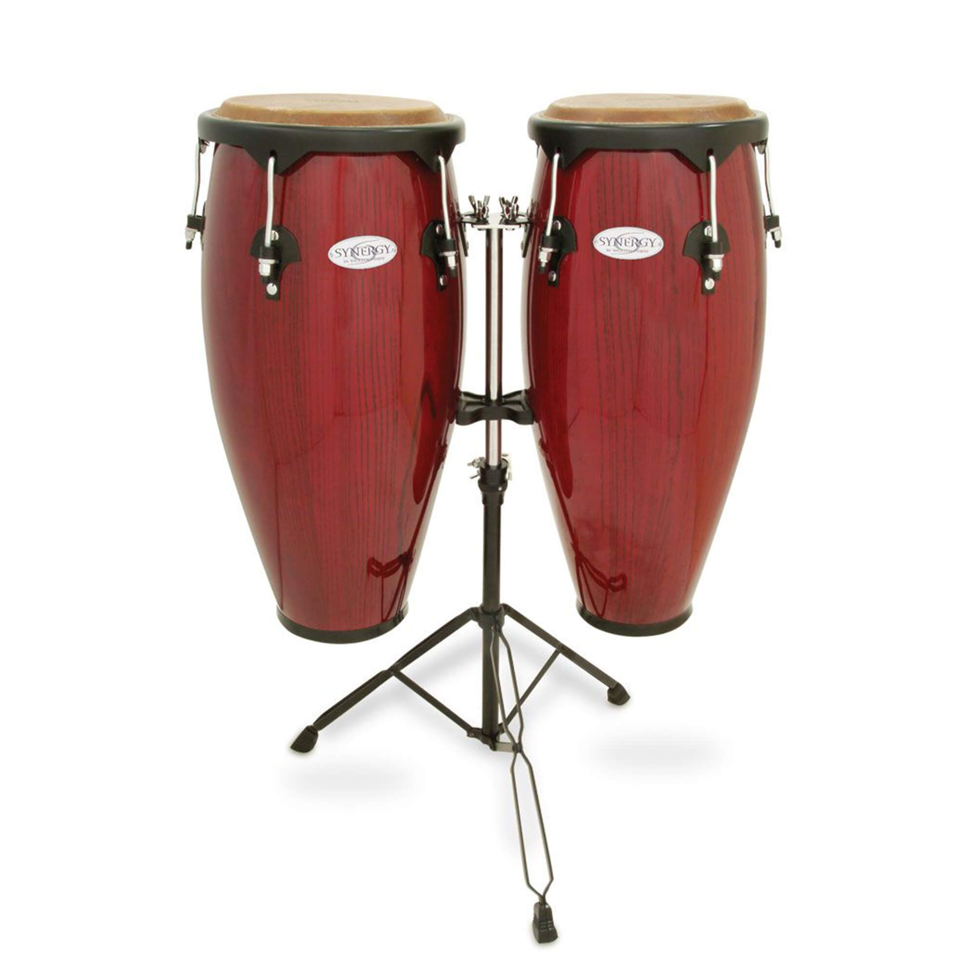 Toca 2300RR Synergy Series Wood Conga Set with Stand - Red Wood